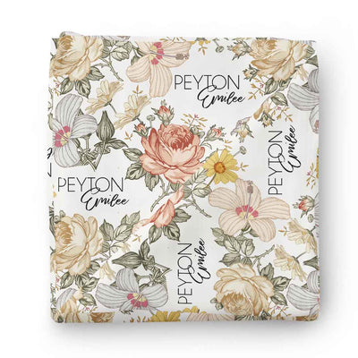 vintage floral baby name swaddle