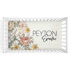 peyton's vintage floral soft knit personalized crib sheet