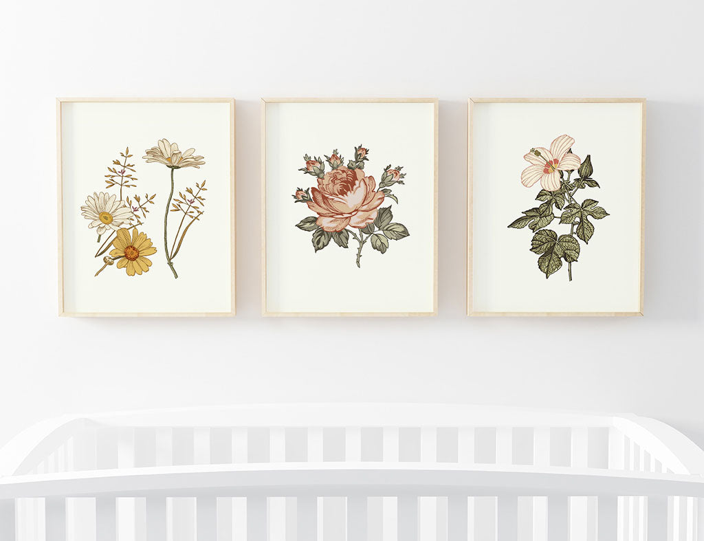Peytons vintage floral bundled digital nursery wall art