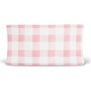Presley's Pink Plaid Changing Pad Cover