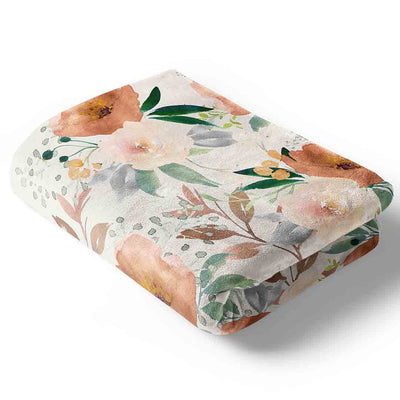 Posey's Earth Tone Floral Baby and Toddler Stroller BLanket