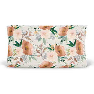 Posey's Earth Tone Floral Changing Pad Cover in rust and blush
