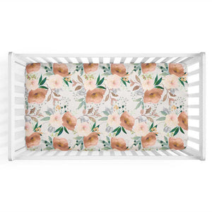Posey's Earth Tone Floral Knit Crib Sheet