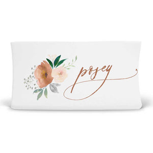 Posey's Earth Tone Floral Personalized Changing Pad Cover