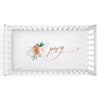 Posey's Earth Tone Floral Personalized Crib Sheet