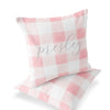 Presley's Pink Plaid Custom Name Throw Pillow