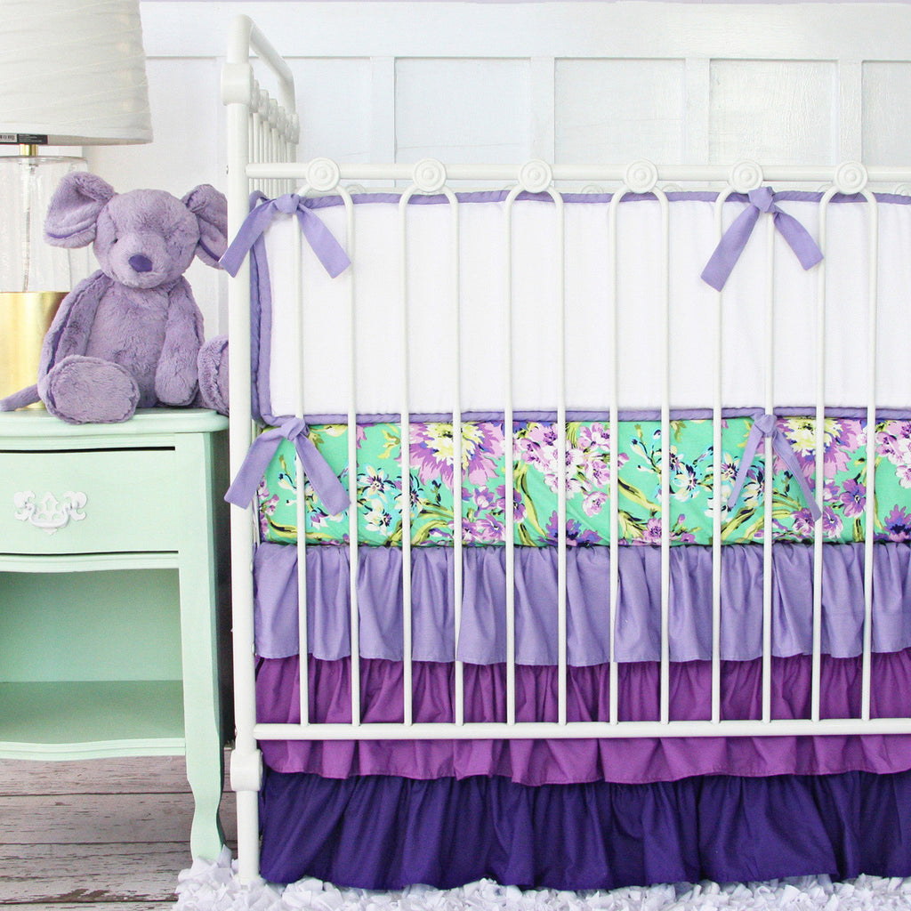 purple and mint baby bedding