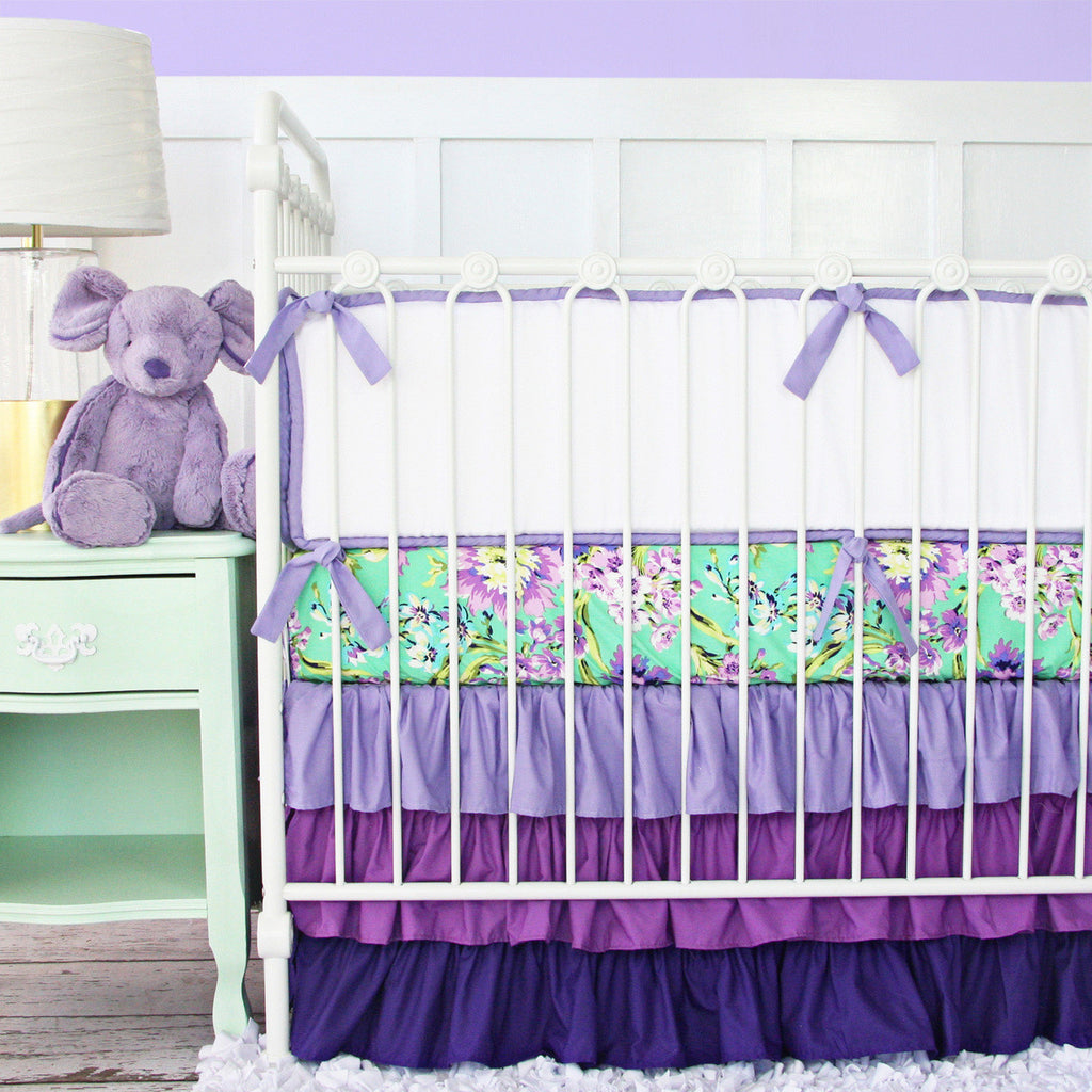 purple floral baby bedding