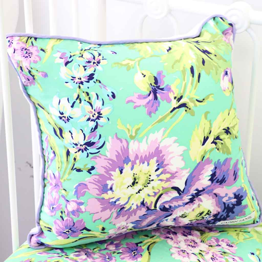 Purple Paige floral print throw pillow