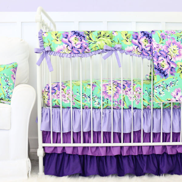 Purple Paige Floral Bumperless Crib Bedding Collection