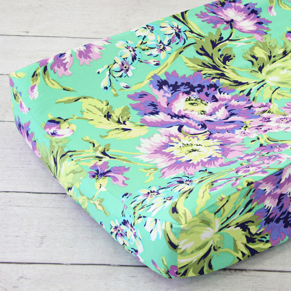 Matching Purple-Green Floral Contoured Changing Pad Cover