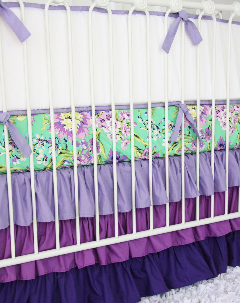 purple floral crib set