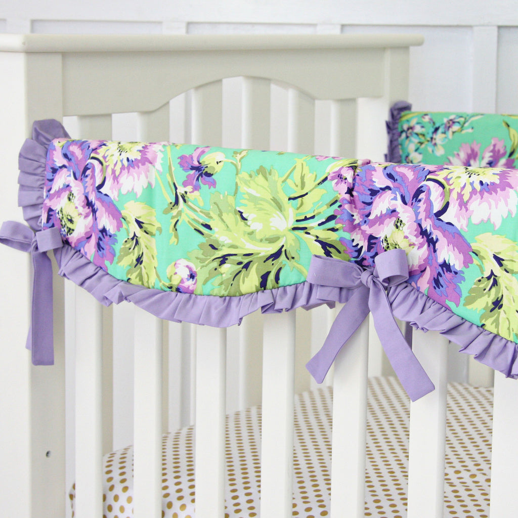 Purple floral Crib Rail Cover