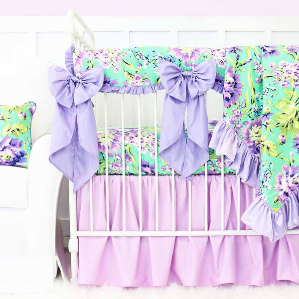 Purple Paige Lilac Gathered Crib Skirt Purple Mint