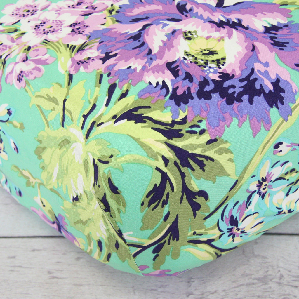 Purple Paige Purple-Mint Floral Crib Sheet