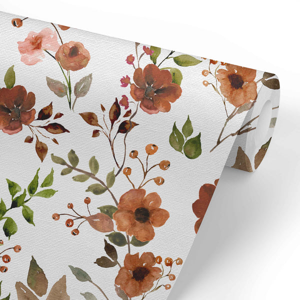 Quinn's Rust Floral Removable Wallpaper
