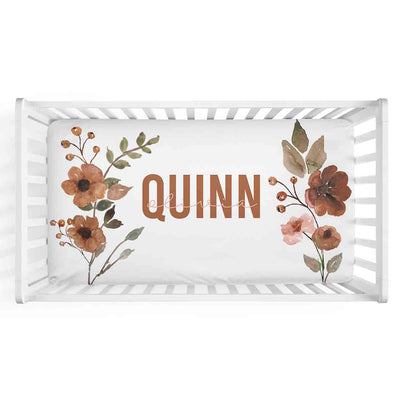 quinn's rust floral soft knit personalized crib sheet