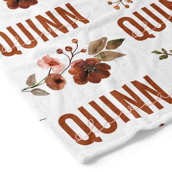 Quinn's Rust Floral Personalized Toddler Blanket