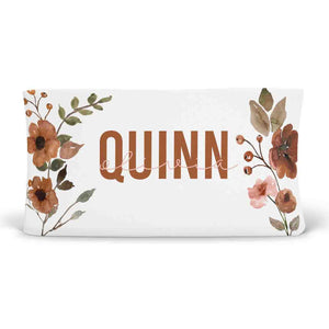 quinn's rust floral soft knit personalized changing pad cover