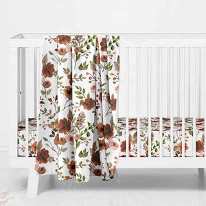 Quinn's Rust Floral Baby Bedding
