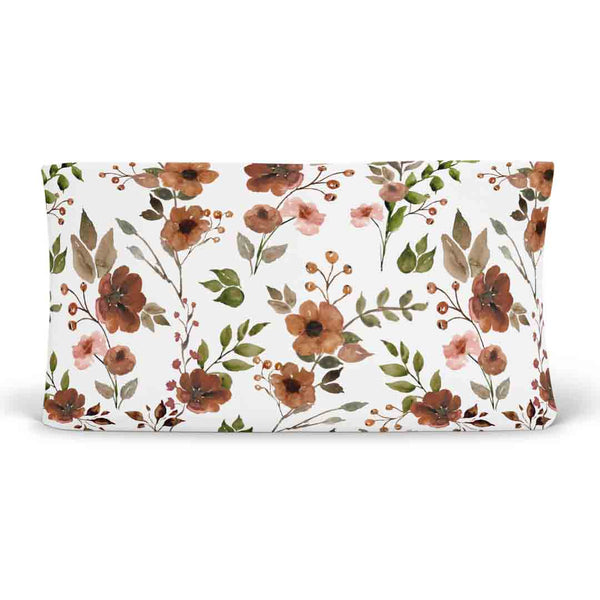 quinn's rust floral knit changing pad cover