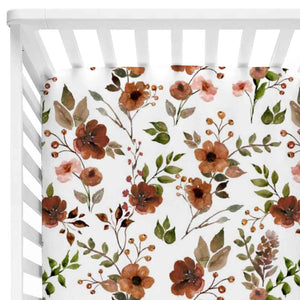 quinn's rust floral soft knit crib sheet