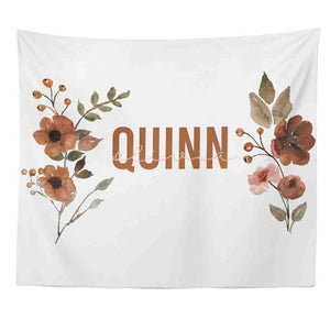 Quinn's Rust Floral Personalized Wall Tapestry