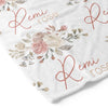 vintage dusty rose personalized toddler blanket