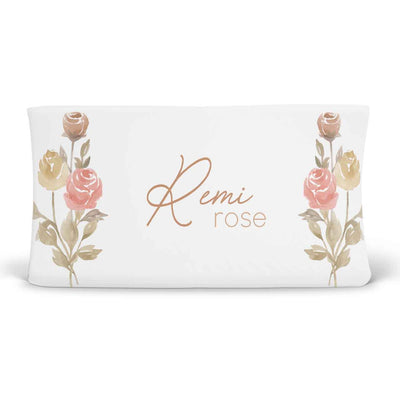 remi's rose vines soft knit personalized changing pad cover