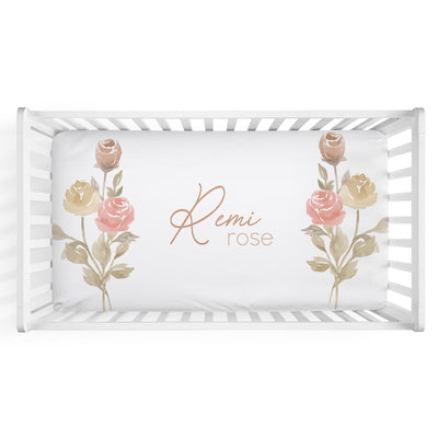 remi's rose vines soft knit personalized crib sheet