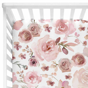 mauve floral crib sheet