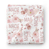 Rosie's Rose Garden Personalized Baby Name Swaddle Blanket