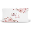 mauve floral personalized changing pad cover