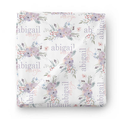 purple floral baby name swaddle