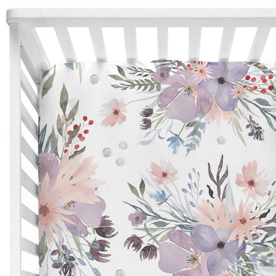 rowan dusty purple bouquet crib sheet