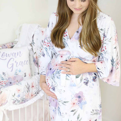 dusty purple floral soft maternity robe
