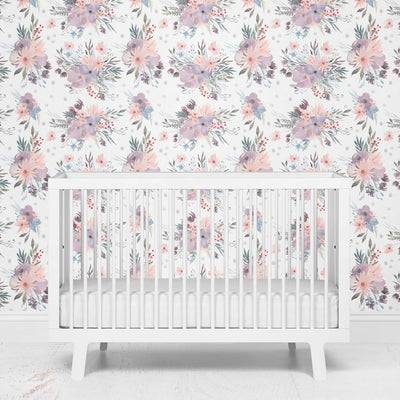 Rowan's Dusty Purple Floral Removable Wallpaper for a purple nursery
