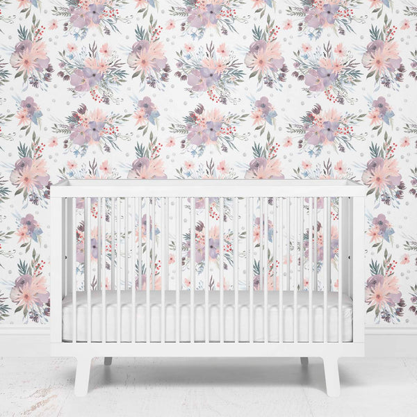 Rowan's Dusty Purple Floral Removable Wallpaper