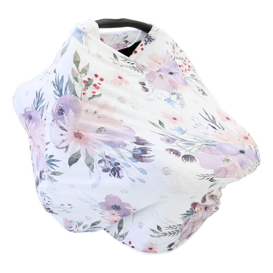 Dusty Purple Floral Stretchy Car Seat Cover Nursing Poncho
