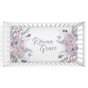 Rowan's Dusty Purple Bouquet Personalized Crib Sheet