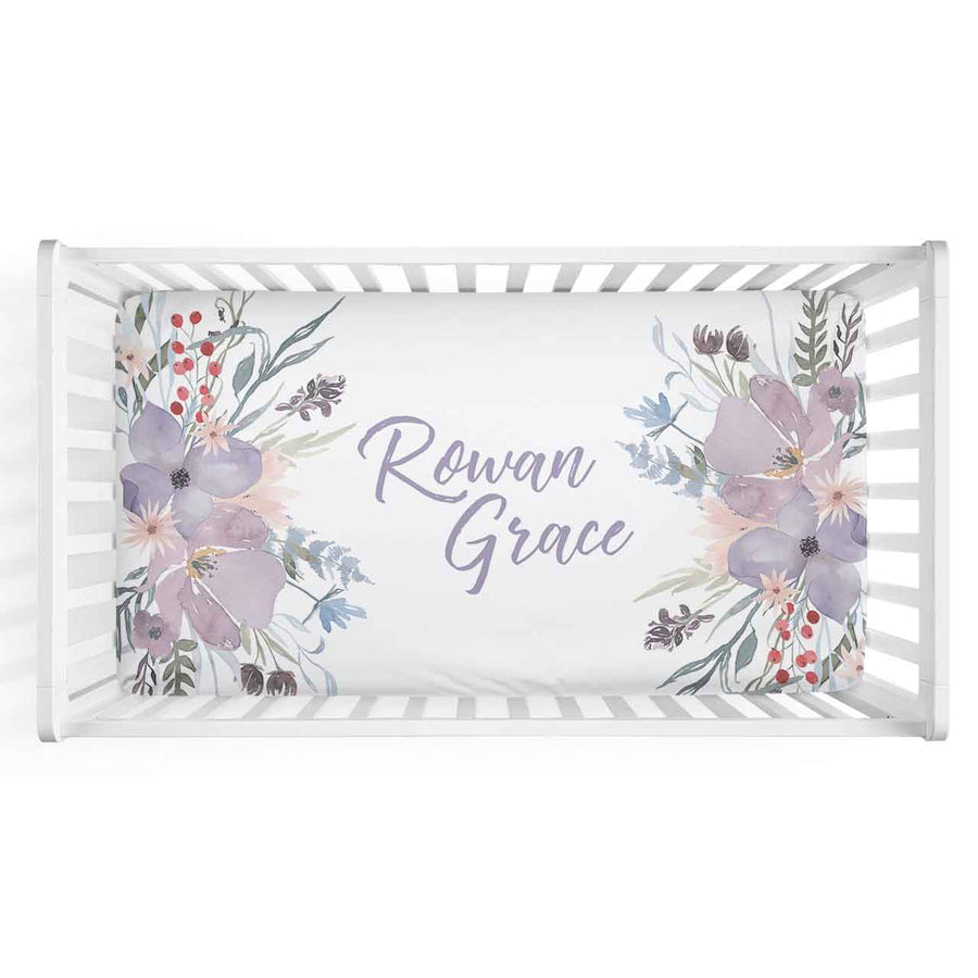 Rowan's Dusty Purple Bouquet Personalized Fitted Crib Sheet