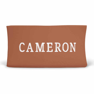 Personalized Rust Color Jersey Knit Changing Pad Cover in Script