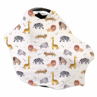 safari party animal soft stretchy knit multi-use car seat cover