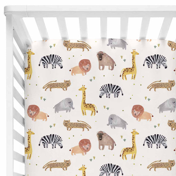 safari party animal soft stretchy knit crib sheet