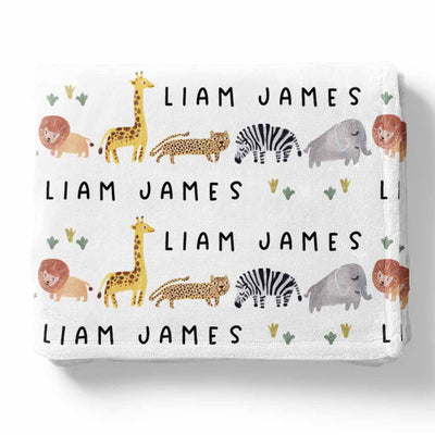 Safari Party Personalized Toddler Blanket