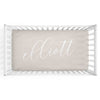 Personalized Baby Name Soft Taupe Sand Color Jersey Knit Crib Sheet in Centered Script Style