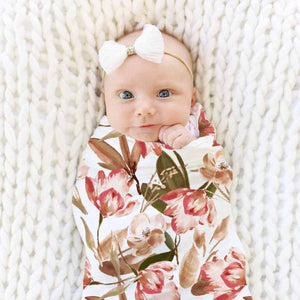 Savannah's Sunset Floral Knit Swaddle Super Soft Stretchy