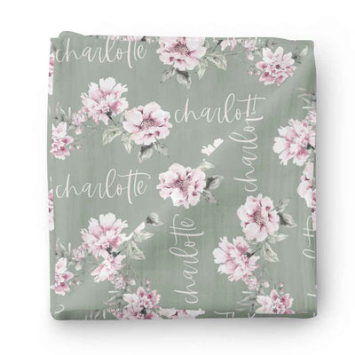 Saylor's Sage & Blush Floral Personalized Baby Name Swaddle