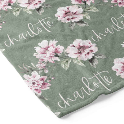Saylor's Sage & Blush Floral Personalized Toddler Blanket