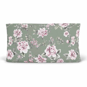 saylors sage and blush soft stretchy knit changing pad cover